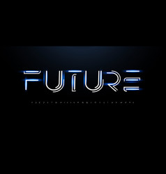 future style alphabet line innovation font cyber vector image