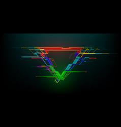 Futuristic glitch triangle in cyberpunk style vector