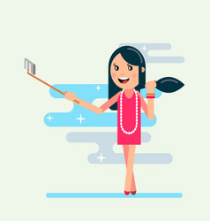 Girl shoot selfi vector