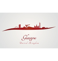 Glasgow skyline in red vector