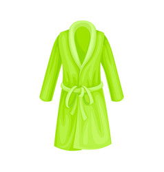 Green terry bathrobe or bathing gown with long vector