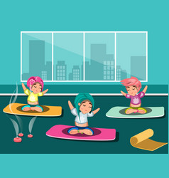 Group of happy women doing yoga in a studio vector