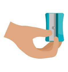Hand with sharpener icon vector