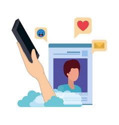hands with smarthphone and social network profile vector image
