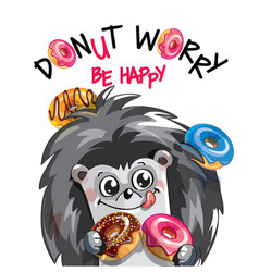 Happy hedgehog with donuts vector