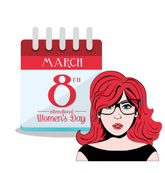 Happy womens day international calendar vector