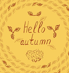 Hello autumn leves sketch vector