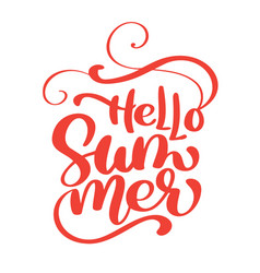 hello summer handwritten vector image