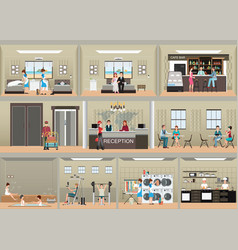 Hotel interior set with reception vector