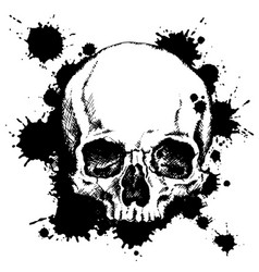 Human skull with black ink blots vector