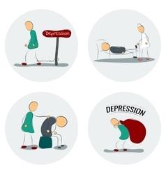 Icon set man in depression vector
