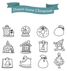 Icons holiday with hand draw vector
