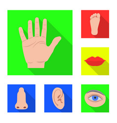 isolated object of human and part sign set of vector image
