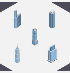 isometric construction set of building exterior vector image