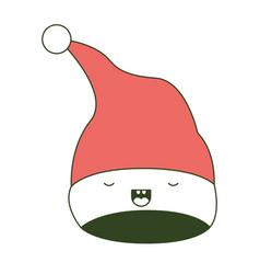 kawaii christmas hat santa claus with eyes closed vector image