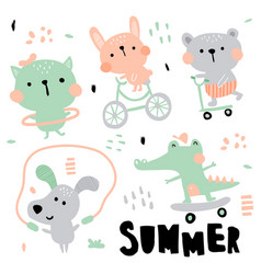 Kids animals vector