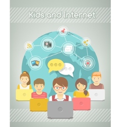 Kids social networking on internet group vector