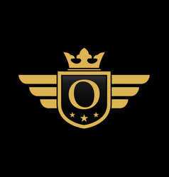 letter o shield wing vector image