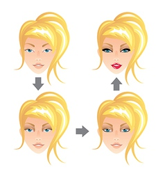 make up stages blonde girl vector image