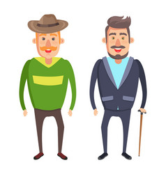 male characters smiling man in hat with mustaches vector image