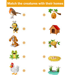 Matching game for children animals with their hom vector