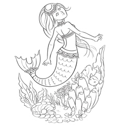 mermaid swimming in the ocean coloring page vector image