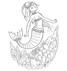 Mermaid swimming in the ocean outlined vector