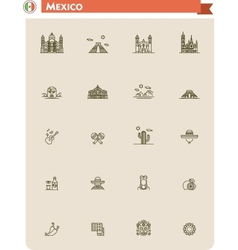 Mexico travel icon set vector image