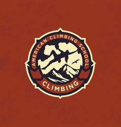 modern professional logo emblem climbing vector image
