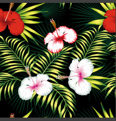multicolor hibiscus green leaves seamless black vector image