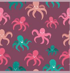 octopus cute seamless pattern vector image