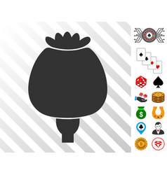 Opium poppy icon with bonus vector