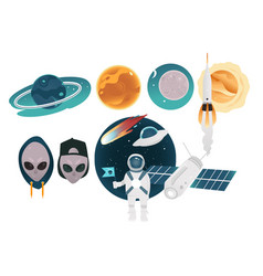 outer space theme objects set with different vector image