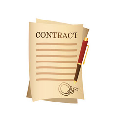 paper contract agreement and pen isolated cartoon vector image