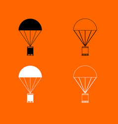 Parachute with cargo black and white set icon vector