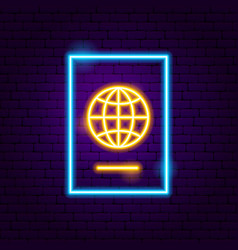 passport neon label vector image