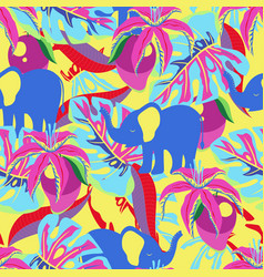 pattern with elephant and mango vector image