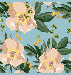 pattern with peonies flowers and leaves vector image