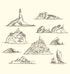 Pencil drawings of isles with rocks and fortresses vector