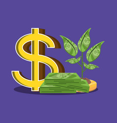 pile of bills dollar with plant isolated icon vector image
