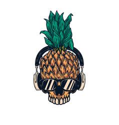 pineapple skull with headphones design element vector image