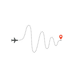 Plane way icon airplane big amplitude waves path vector