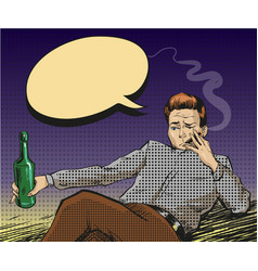 pop art of smoking man with vector image