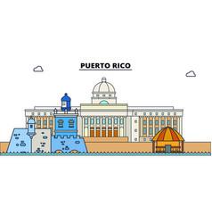 Puerto rico line skyline vector