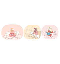 Relaxation with book at home lazy bedding time vector