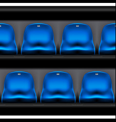 Row of plastic stadium seating - arena chairs vector