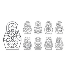 russian matryoshka icon set outline style vector image