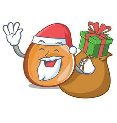 Santa with gift bagels mascot cartoon style vector