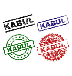Scratched textured kabul seal stamps vector