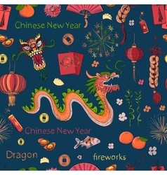 seamless chinese new year pattern vector image